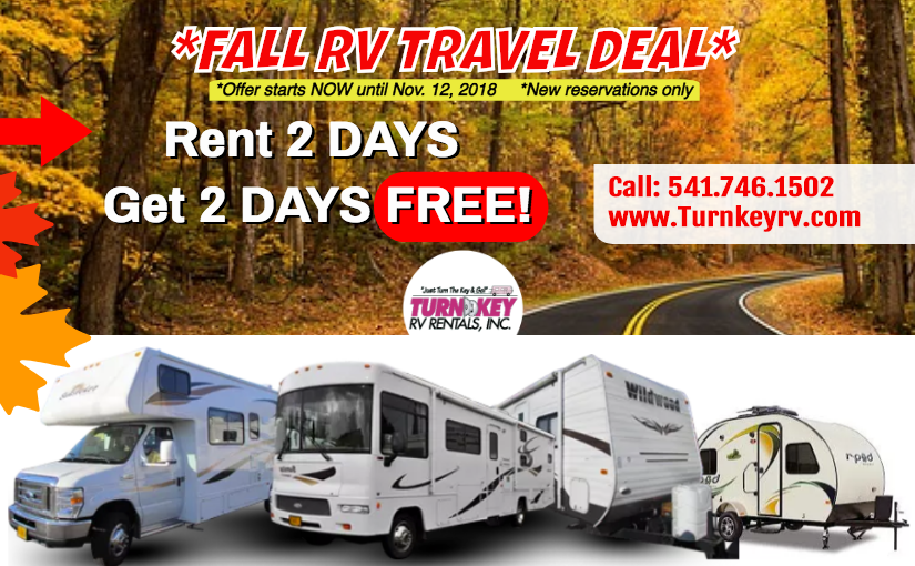 Fall RV Travel Deal From Your Trusted Eugene RV Rental